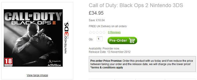 Call Of Duty 2 3ds : Bo 『black ops 』 ds版とwii版が絶賛予約受付中。お値段約 円 eaa