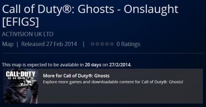 "CoD ゴースト:PSPC版DLC""Onslaught""は2月27日配信か、海外版PSNに登場"