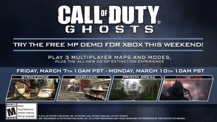 CoD: ゴースト:Xbox版のマルチプレイヤー無料体験を開催、3/8より