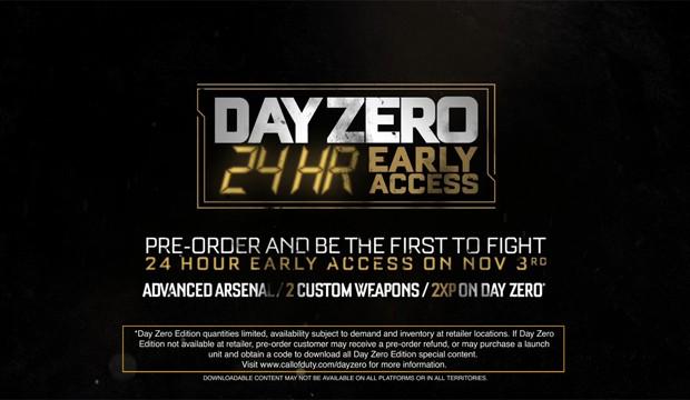 """CoD:AW : 発売の24時間前にダブルXPでプレイできる""""DAY ZERO エディション""""発表、限定武器も"""