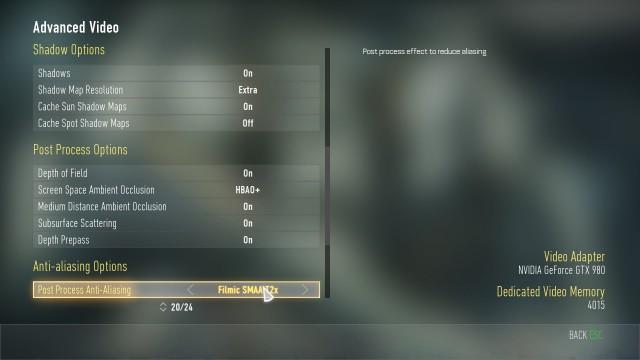 『Call of Duty: Advanced Warfare(コール オブ デューティ アドバンスド・ウォーフェア)』PC設定画面 02