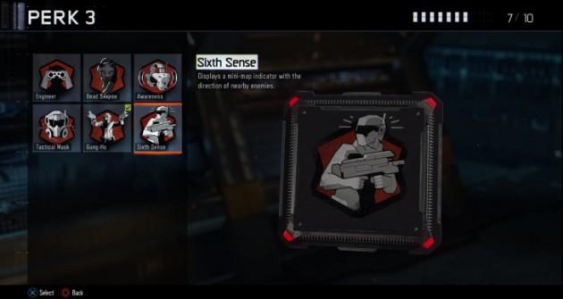 シックスセンス:周囲の敵の向きをミニマップ上に表示させる。