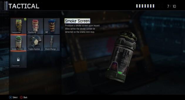 スモークスクリーン:インパクトでスモークスクリーンを発生させる。スモーク内の味方は敵のミニマップに探知されない。