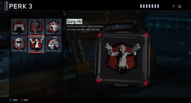 ガンホー:スプリント中に腰だめ射撃、装備の設置、グレネードの投擲が行えるようになる。