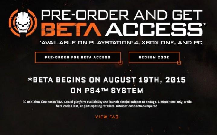 CoD:BO3:PS4でのマルチプレイベータは現地時間の8月19日から、国内の詳細待たれる