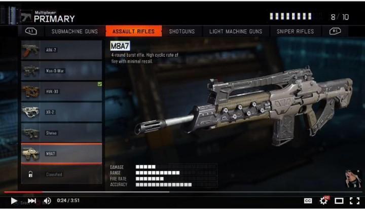 M8A7:4点バースト銃 バーストの間隔が短く、リコイルも小さい