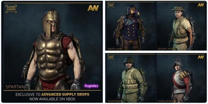 CoD:AW:5種の新装備セットがAサプライドロップに追加、古代のスパルタ戦士など