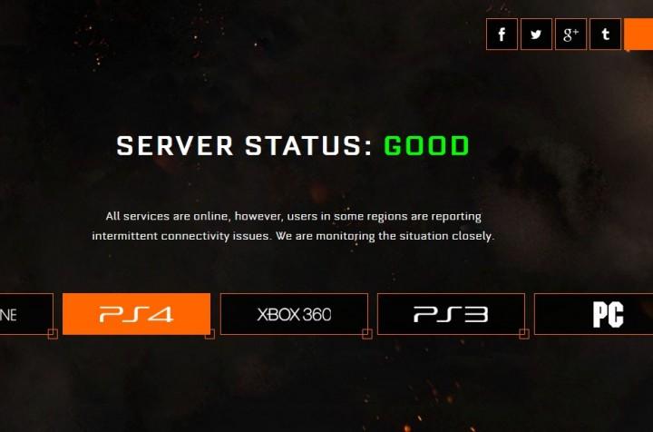 CoD:BO3:公式サーバーステータス、PS4は接続に問題あり