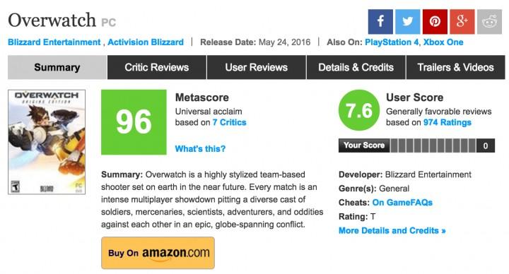 """PC版『オーバーウォッチ』がメタスコア96を記録、""""不朽の名作""""クラスの数値"""
