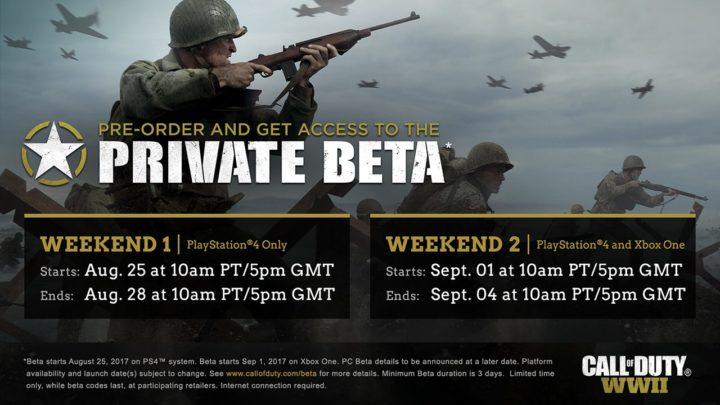 CoD:WWII:ベータテストは 8月25日から、PS4は最大6日プレイ可能