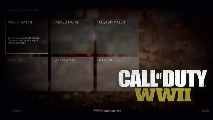 CoD:WWII:マルチプレイヤーの6つのカテゴリー判明、「公開」「ランクマッチ」「デイリーモード」「ゾンビ」など
