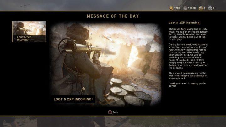 CoD:WWII:ランク巻き戻しユーザーへ2XPとサプライドロップの配布を開始