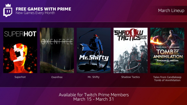 Twitch Primeで5本のゲームを無料配信、今後も毎月数本のゲームが無料